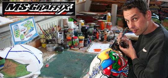 Mario Suske an seinem Arbeitsplatz bei MS GRAFFIX - Der Custom Paint Shop.
