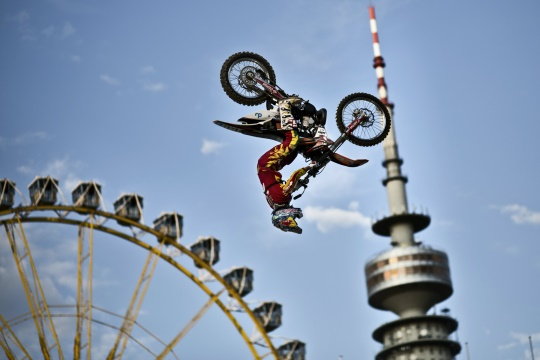 Dany Torres of Spain performs during the training session of fifth stage of the Red Bull X-Fighters World Tour in Munich, Germany on August 9, 2012. // Daniel Grund/Red Bull Content Pool //