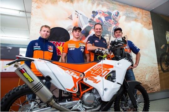Stefan Huber, Matthias Walkner,Heinz Kinigadner und Marc Coma (v.l.)