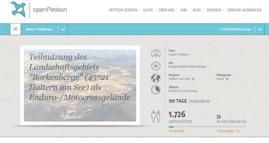 """Teilnutzung des Landschaftsgebiets """"Borkenberge"""" (45721 Haltern am See)  als Enduro-/Motocrossgelände"""