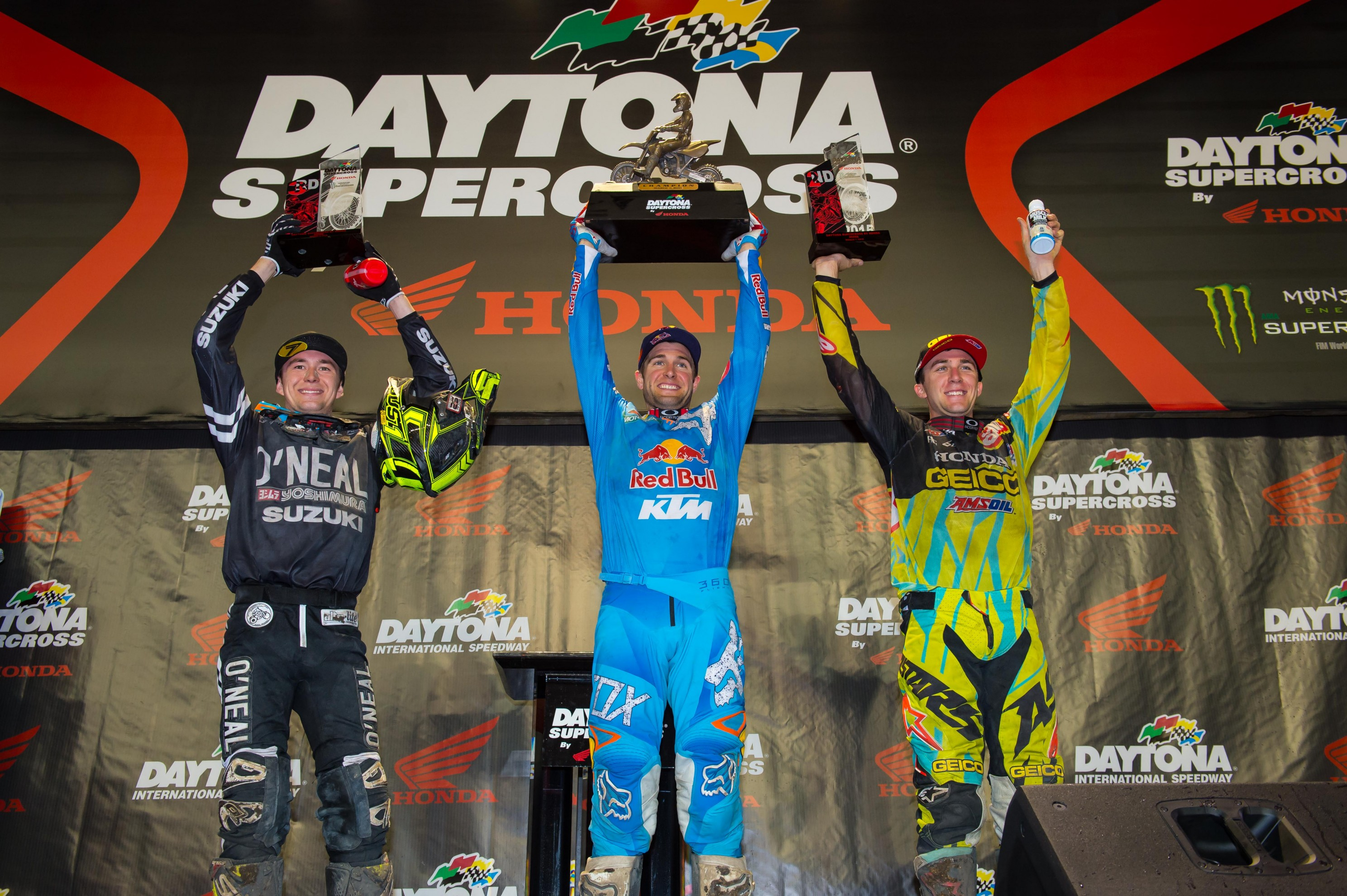 Podest in Daytona vl. Eli Tomac (2), Ryan Dungey (1) und Blake Bagget (3)
