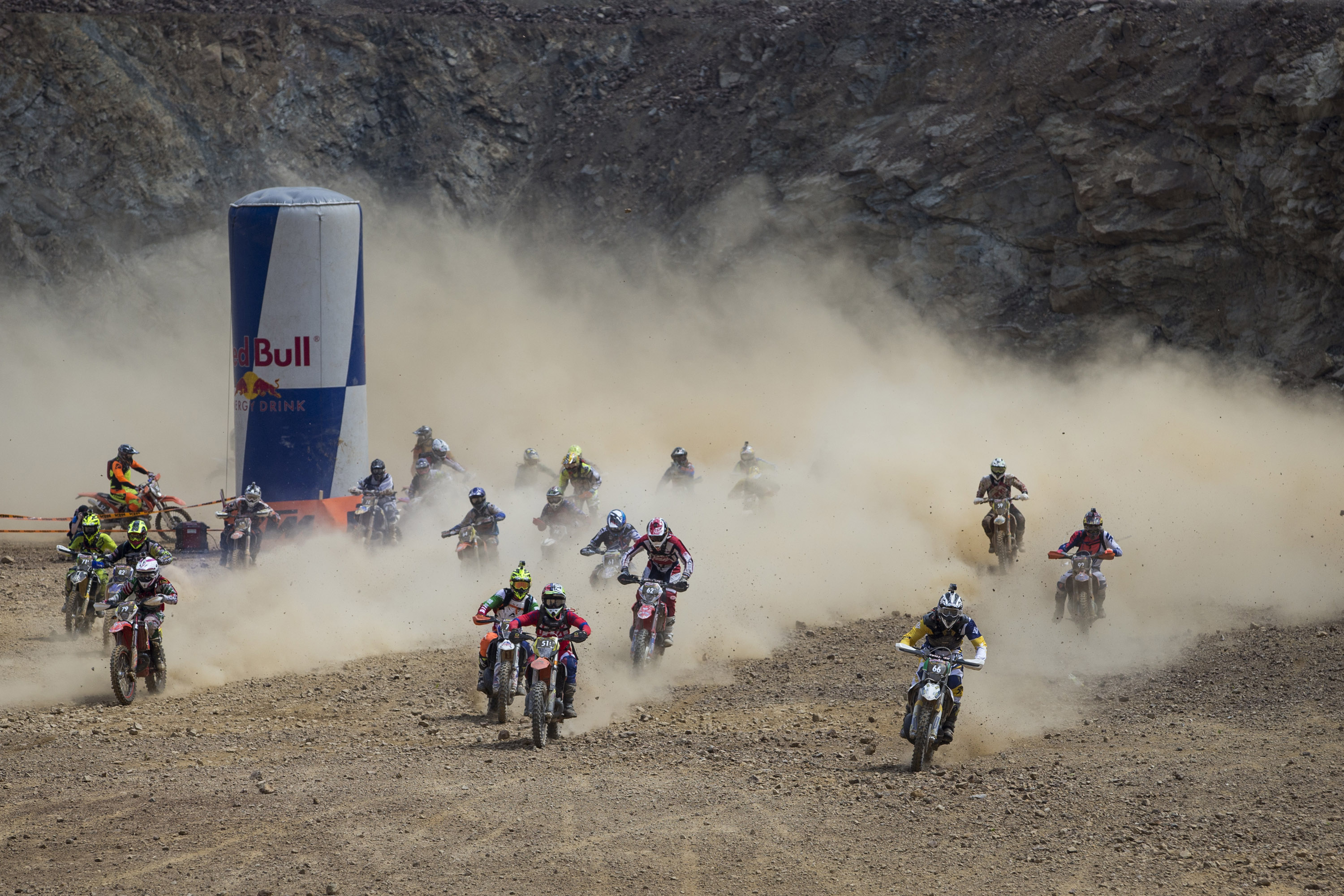 Competitors perform during the Red Bull Hare Scramble 2015 in Eisenerz, Austria on June 7, 2015