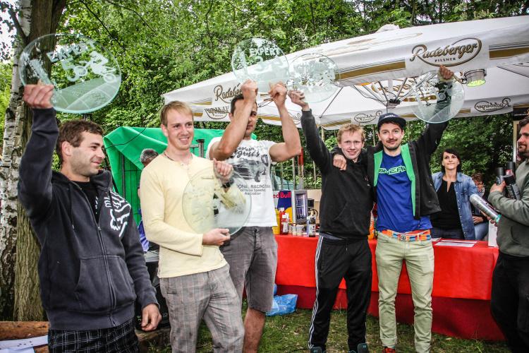 Sie Sieger von rechts: Teucher, Engelmann, Dengler, Bräuer